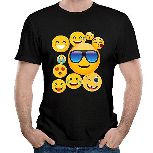 Shanala Men's Emoji Cute Smileys Face Cotton Tshirt Black - Solid Earrings Face Smiley