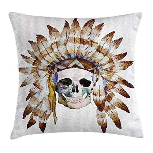 Abaysto Skull Native American Skull Indigenous Dead Man Watercolor Image with Feathers Ethnic Brown White Linen Throw Pillow Cases Cushion Case Size 16x16 Inches Personalized Customize