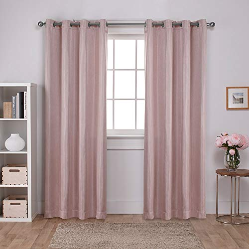 - Exclusive Home Curtains Carling Basketweave Textured Woven Blackout Window Curtain Panel Pair with Grommet Top, 52x96, Blush, 2 Piece