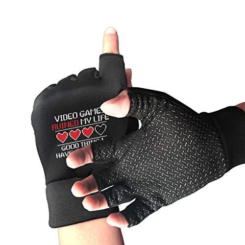 Video Games Fingerless Gloves Breathable Half Finger Non-Slip Pro Shock-Absorbing Riding Gloves Outdoor Sports Gloves for Weight Liftingfor Men Women Youth