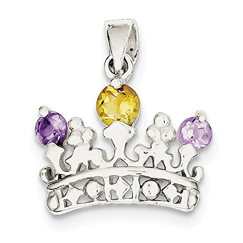 925 Sterling Silver Yellow Citrine Purple Amethyst Crown Pendant Charm Necklace Gemstone Fine Jewelry Gifts For Women For Her