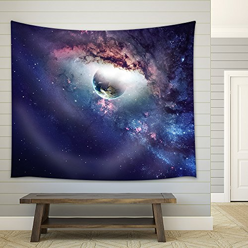 Universe Scene with Planets Stars and Galaxies in Outer Space Fabric Wall Tapestry