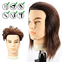 HAIREALM Male Mannequin Head 100% Human Hair Cosmetology Manikin Doll Head for Hair Styling (Table Clamp Stand Included) HG0408W