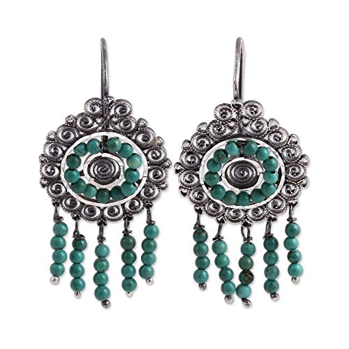 - NOVICA Reconstituted Turquoise .925 Silver Beaded Earrings, Mexican Shield in Turquoise'
