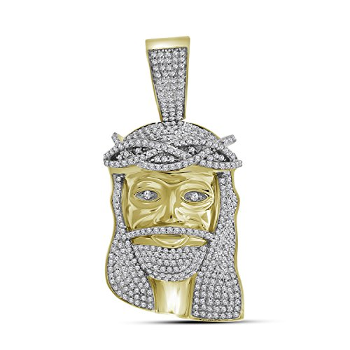 Roy Rose Jewelry 10K Yellow Gold Mens Round Diamond Jesus Christ Messiah Head Charm Pendant 1-1/3-Carat ()