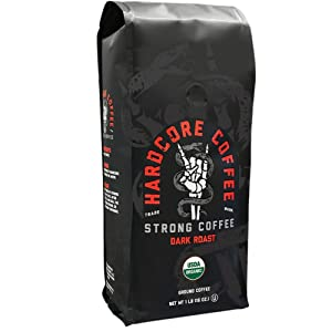 Hardcore Coffee Strong Dark Roasted Organic High Caffeine Cup Coffee, Strong Coffee, 1-Pound