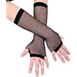 Ayliss 2 Pairs Long+short Fishnet Gloves 8 Colors Available, Black, One Size