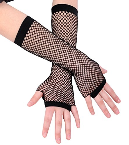 Ayliss 2 Pairs Long+short Fishnet Gloves 8 Colors Available, Black, One Size -