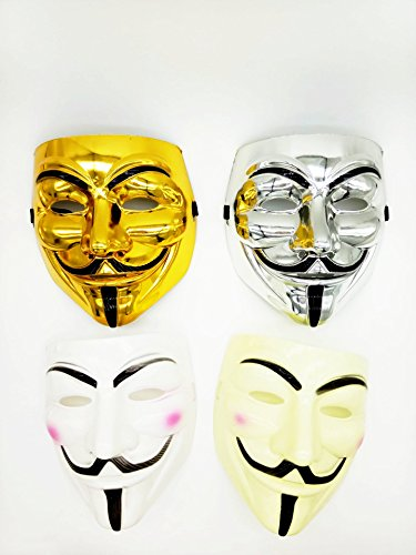 V for Vendetta Mask Guy Color Gold Sliver White Yellow Pack of 4 (Realistic Masks For Sale)