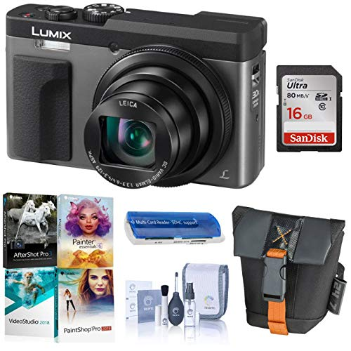 Panasonic Lumix DC-ZS70 Digital Point & Shoot Camera, Silver – Bundle with Camera Case, 16GB Memory Card, Lens Cleaning Kit, Card Reader, Corel PC Software Package
