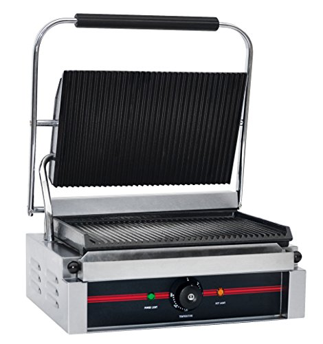 """Chef's Supreme - Commercial Panini Grill w/ 14"""" x 9"""" Groo..."""
