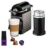 Nespresso Pixie Espresso Machine by Breville with Aeroccino, Titan