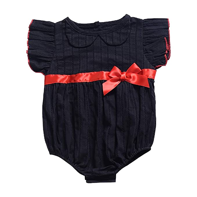 UK Toddler Kids Baby Girl Bowknot Romper Bodysuit Jumpsuit Outfit Clothes Summer