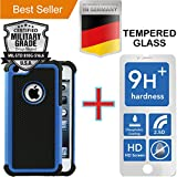 iPhone 5 & 5S [4.0] Pack [Heavy Duty] Case + [Tempered Glass] Screen Protector [Dual Layer] Hybrid [Shock Absorbent] Dirt Dust Snow Armor [Anti Scratch] Rubber [Impact Protection] Skin Cover Blue