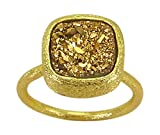 Betty Carre Adjustable Ring in Gold Plating and Square Golden Druzy