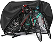Bike Cover for 2 or 3 Bikes Outdoor Waterproof Bicycle Covers Rain Sun UV Dust Wind Proof with Lock Hole for M