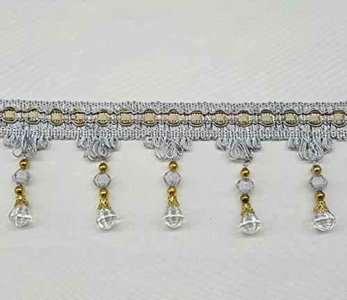 One Yard Of Beaded Curtain Fringe Tassel With Gold Cord in Silver (Trim Tassel 3')