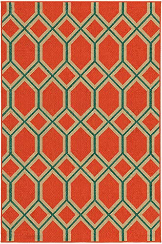 Tommy Bahama Seaside 3.7 X 5.6 Indoor/Outdoor Rug By Oriental Weavers - Orange & Teal (Bahama Tommy Outdoor Rugs)