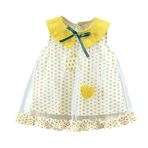 Huarll Infant Baby Girl Cute Fruit Printed Tutu Dress Toddlers Ruffle Collar Vest Dress Outfit Clothes Beach Sundress (Yellow,18-24 - Collar Tutu