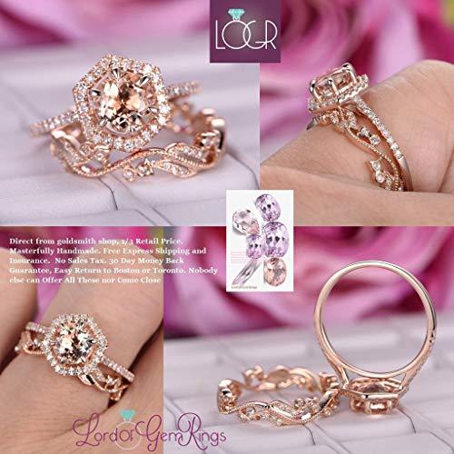 Round Morganite Ring Bridal Set Diamond Hexagon Halo Floral Band 14K Rose Gold 7mm