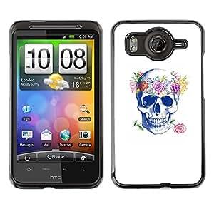 Shell-Star Art & Design plastique dur Coque de protection rigide pour Cas Case pour HTC Desire HD / G10 / inspire 4G( Floral Wreath Spring Love Rose Skull )