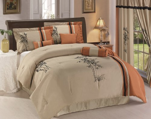 Chezmoi Collection Kariya 7-Piece Embroidery Bamboo Comforte