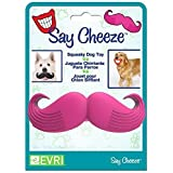 Evriholder Say Cheeze - Squeak Dog pet Toy (Pink Mustache) - Looks Like Your Pup has a Moustache