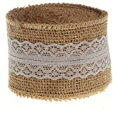 """HUJI Natural Jute Burlap with Lace Ribbon for Arts Crafts Wedding Cake Rustic Decorations (10 yd, 2"""" Beige & White Lace)"""