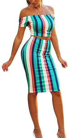 Mujer 2 Juegos Y Top Crop Set Faldas Verano Vintage Ropa de Fiesta ...