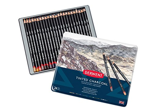 Derwent Tinted Charcoal Pencils, 4mm Core, Metal Tin, 24 Count (2301691) by Derwent (Image #1)