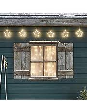 Lights4fun 10 LED Osby sterren slinger kerstverlichting met timer binnen en buiten