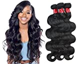 NICE QUEEN Brazilian Body Wave Human Hair 3 Bundles 8A Virgin Remy Human Hair Extensions Hair Human Bundles Weave Products(Body Wave,10 12 14 Inch)