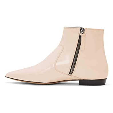 09ea93e72c XYD Women Formal Pointed Toe Flat Ankle Boots Low Heel Basic Office Dress  Booties with Double Side Zipppers