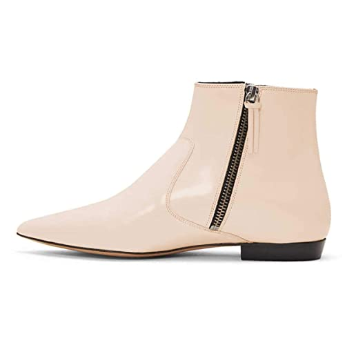 f19b962419 XYD Women Formal Pointed Toe Flat Ankle Boots Low Heel Basic Office Dress  Booties with Double Side Zipppers