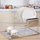 KINGSO Stainles Steel Dish Drying Rack Removable Utensils Holder With Drain Holes For Kitchen … (2-tier)