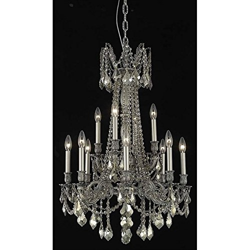 Elegant Lighting 9212D24PW-GT/RC Rosalia Collection 12-Light Hanging Fixture with Royal Cut Golden Teak Crystals, Pewter Finish