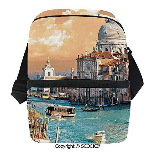SCOCICI Insulated Lunch Cooler Bag Grand Canal in Venice Italy Historical European Cityscape Town Tower Boho Print Reusable Lunch for Men Women Heat Insulation,Heat Protection