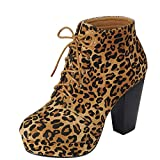 Forever Camille-86 Women's Comfort Stacked Chunky Heel Lace Up Ankle Booties,Suede Leopard,8.5