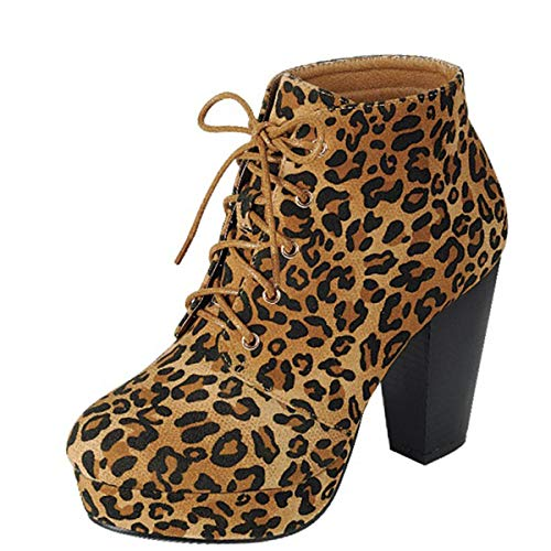 Forever Camille-86 Women's Comfort Stacked Chunky Heel Lace Up Ankle Booties,Suede Leopard,8