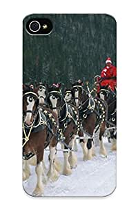 Christmas Gift - Tpu Case Cover For Iphone 4/4s Strong Protect Case - Beer Alcohol Drink Poster Winter Christmas Horse Horses Design