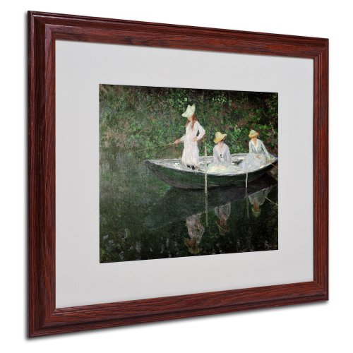 picture of Trademark Fine Art The Boat at Giverny by Claude Monet Canvas Wall Artwork, Wood Frame, 16 by 20-Inch