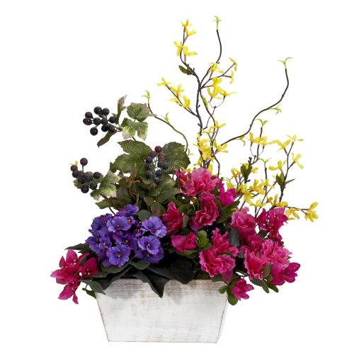 Nearly Natural 1270 Mixed Floral with Azalea and White Wash Planter Silk Flower Arrangement, Assorted