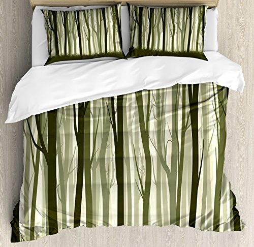 - Ambesonne Apartment Decor Duvet Cover Set, Mother Nature Theme Illustration of Mystic Forest with Trees, 3 Piece Bedding Set with Pillow Shams, Queen/Full, Army Green and Sage Green