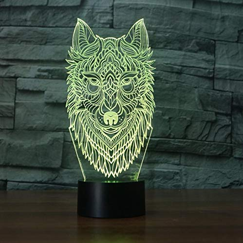 Luz Nocturna 3D Led Dormitorio Visión Lámpara Lámpara Lámpara De Mesa Cabeza De Lobo Modelado Atmósfera Luces Nocturnas Usb 7 Cambio De Color Animal Sueño Accesorios De Iluminación Accesorios 6b32cd