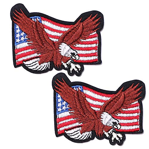 SHELCUP 2 Pack American US Flag Patch, Embroidered Cloth Sew on Iron on Patch, The Eagle and US Flag