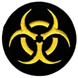 Biohazard Symbol Embroidered Patch Iron-On Danger Symbol Black-on-Yellow Logo