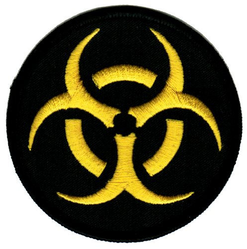 Biohazard Symbol Embroidered Patch Iron-On Danger Symbol Black-on-Yellow Logo -