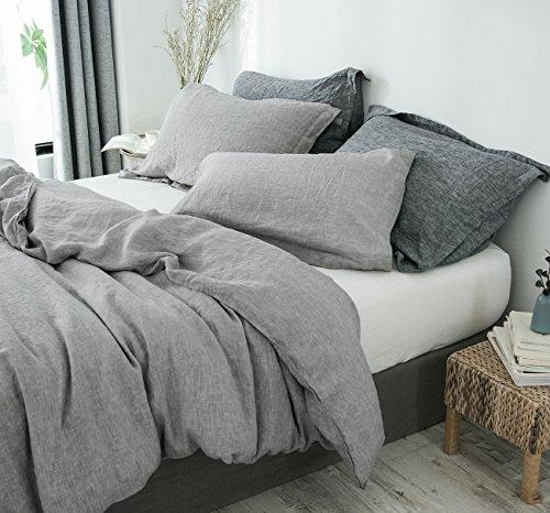 PHF 100% French Linen Duvet Cover Set Queen Size for Winter Light Grey (Rh Duvet Cover)