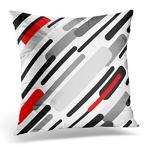 Golee Throw Pillow Cover Pattern with Diagonal Stripes Abstract 1950S 1960S Motifs Retro Design Collection Black Red Grey White Decorative Pillow Case Home Decor Square Pillowcase 51Ki 8oDecL