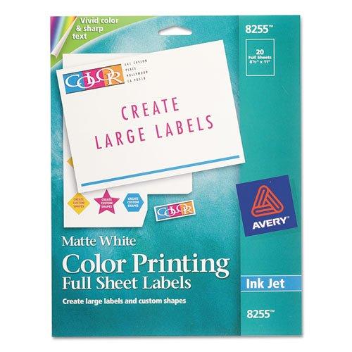 Avery 8255 Inkjet Color-Printing Full Sheet Labels, 8.5x11, Matte White, 20/PK (Printing Inkjet Matte White)